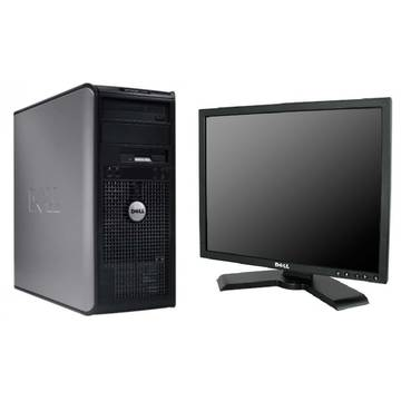 Sistem PC second hand + Monitor LCD Dell OptiPlex 360 Core 2 Duo E8500 3.16GHz 4GB DDR2 160GB HDD Sata RW Tower + Dell P190S 19