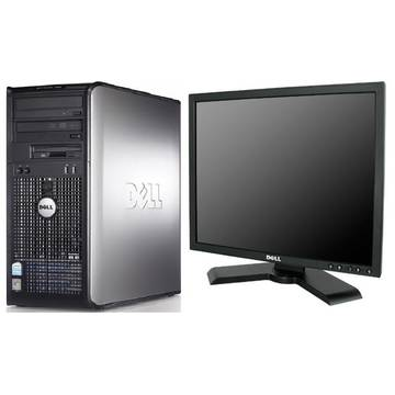 Sistem PC second hand + Monitor LCD Dell OptiPlex 360 Core 2 Duo E8500 3.16GHz 4GB DDR2 320GB (2 x160) HDD Sata RW Tower + Dell P190S 19inch