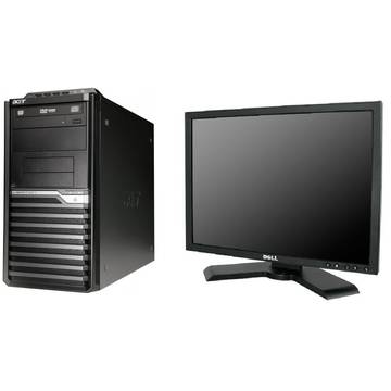 Sistem PC second hand + Monitor LCD Acer Veriton M430G AMD Athlon IIx2 260 3.2GHz 2GB DDR3 320GB ( 2x160) HDD Sata DVDRW Tower + Dell P190S 19inch