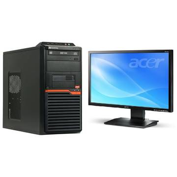 Sistem PC second hand + Monitor LCD Acer Gateway DT55 AMD Athlon IIx2 260 3.2GHz 2GB DDR3 320GB ( 2x160) HDD Sata DVDRW Tower + Acer V223W 22inch Black