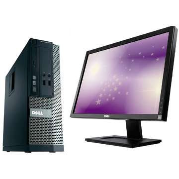 Sistem PC second hand + Monitor LCD Dell OptiPlex 390 i3-2120 Generatia 2 3.3GHz 4GB DDR3 250GB HDD Sata RW SFF Desktop+Dell Professional E2210f/t