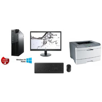 Calculator Lenovo ThinkCentre M91p i3-2120 3.3GHz 4GB DDR3 250GB HDD Desktop Win10 Home+ Monitor AOC LED 18.5 inch+ Mouse si Tastatura