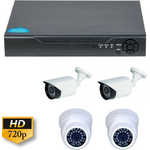 Kit analogic Guard View KIT supraveghere mixt , 1MP 720P, cu  2 camere  dome + 2 camere bullet