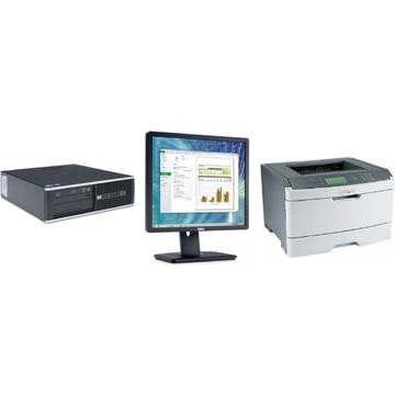 Sistem HP Elite 8100 i5-660 3.33GHz 4GB DDR3 250GB HDD DVD Desktop + Dell P1913SF 19 inch + Windows 10 Home + Imprimanta Lexmark 462DTN