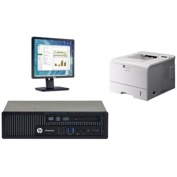 Sistem HP EliteDesk 800 G1 USDT Intel Core i5-4590S 3.00GHz 4GB DDR3 320GB HDD DVD-RW + Dell P1913SF 19 inch + Windows 10 Home + Imprimanta Samsung ML-4551ND