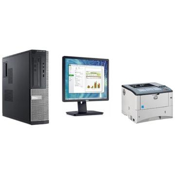 Sistem Dell Optiplex 3010 Intel Core i5-3550 3.30GHz 4GB DDR3 250GB HDD DVD SFF + Dell P1913SF 19 inch + Windows 10 Home + Imprimanta Kyocera FS-2020D