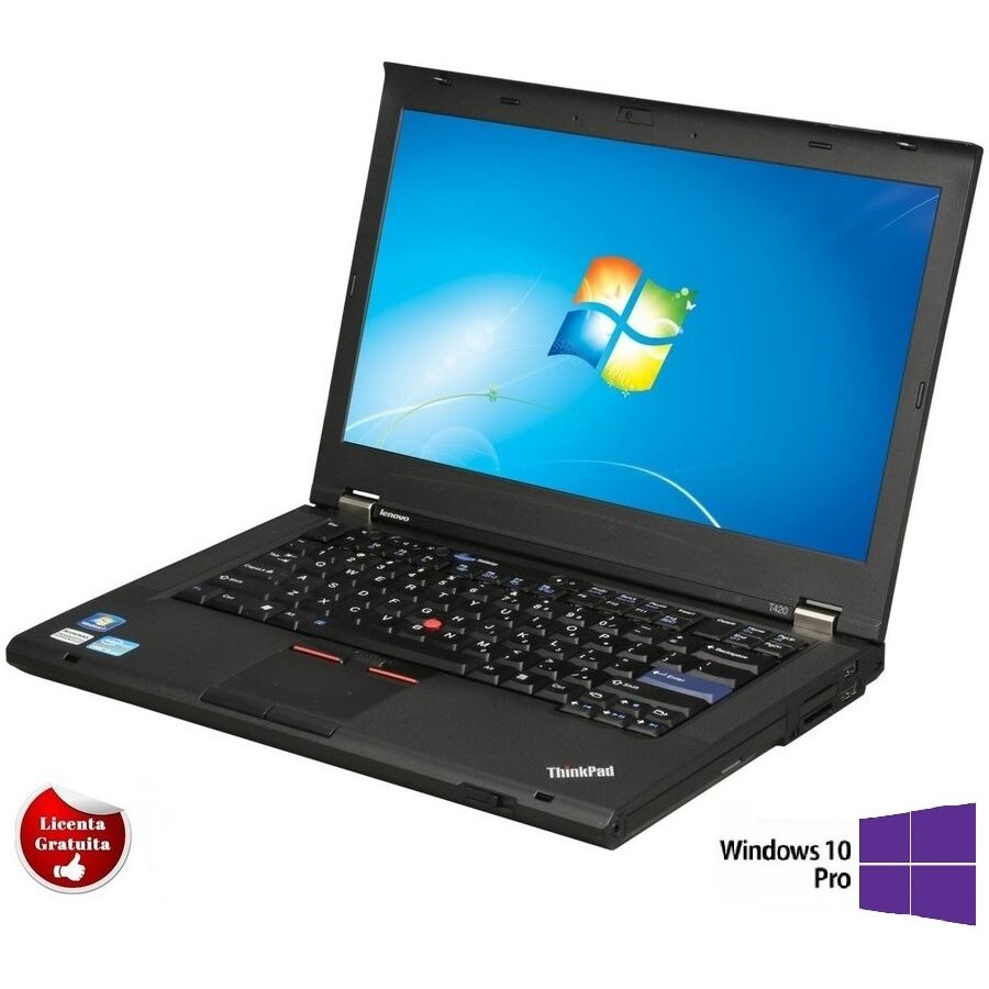 Laptop refurbished ThinkPad T420, i5-2520M, 4GB DDR3, 320GB HDD, DVD-RW, 14 inch, Soft Preinstalat Windows 10 Professional