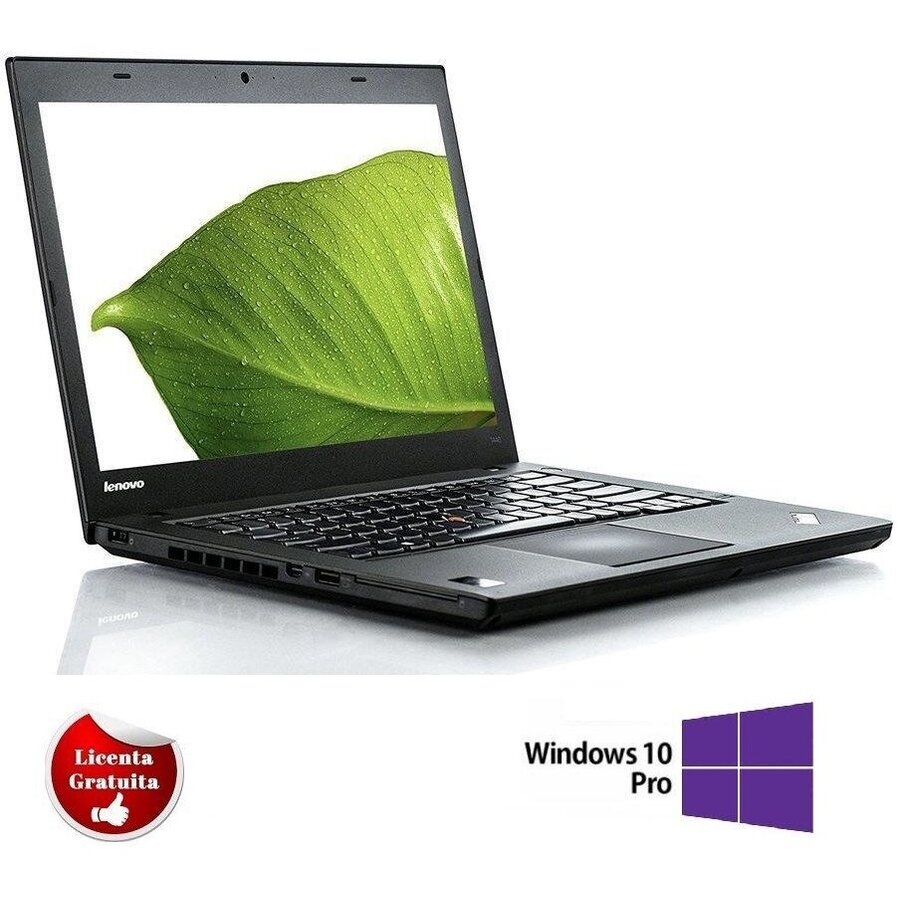 Laptop refurbished ThinkPad T440 i5-4200U 1.60GHz up to 2.60GHz 8GB DDR3 240GB SSD 14 inch 1366x768 Webcam Soft Preinstalat Windows 10 Professional