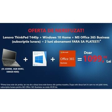 Lenovo ThinkPad T440p, Soft Preinstalat Windows 10 Home, MS Office 365 Business (subscriptie lunara)