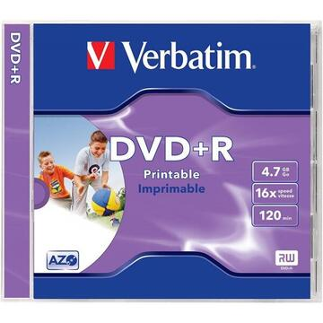 "DVD+R VERBATIMxxxx 4.7GB, 120min, viteza 16x, 1 buc, Single Layer, carcasa, printabil, ""Wide Inkjet Printable"" ""43507"""