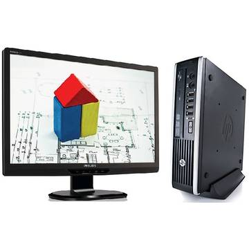 Sistem PC second hand + Monitor LCD HP Elite 8200 i3-2100 3.1GHz 4GB DDR 3 320GB HDD Sata DVD-RW USFF + Monitor Philips Brilliance 220S 22 inch 5 ms