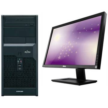 Sistem PC second hand + Monitor LCD Fujitsu P2560 Dual Core E5500 2.8GHz 2GB DDR3 160GB HDD Sata DVD-RW Tower + Monitor Dell Professional E2210f/t