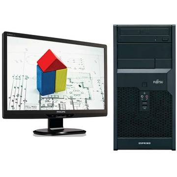 Sistem PC second hand + Monitor LCD Fujitsu P2560 Dual Core E5500 2.8GHz 2GB DDR3 160GB HDD Sata DVD-RW Tower + Monitor  Philips Brilliance 220S 22 inch 5 ms